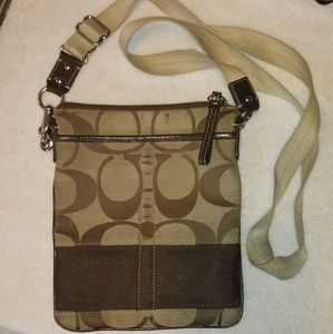 Coach Brown Signature Stripe Crossbody Bag
